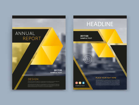 Abstract a4 brochure cover design. Info banner text frame surface. Urban city view font. Title sheet model set. Modern vector front page. Brand texture. Yellow triangle image icon. Ad flyer fiber