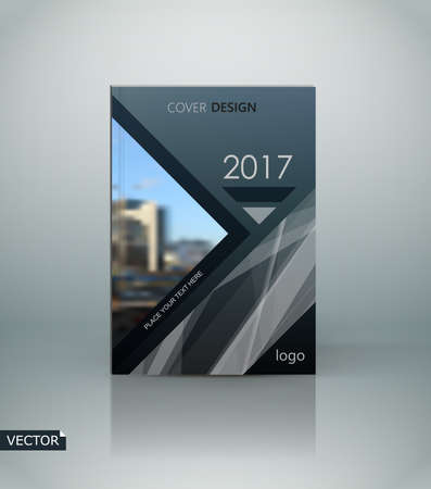Abstract composition. Dark grey a4 brochure cover design. Info banner text font. Title sheet model. Modern vector front page. Brand  sample. Black polygonal figure image icon. Ad flyer frame fiber