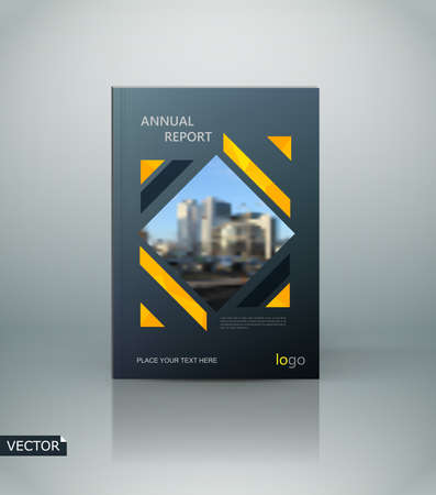 Abstract composition. Black a4 brochure cover design. Info banner font. Hitech text frame. Title sheet model. Modern vector front page. Brand  texture. Yellow figure image icon. Ad flyer fiber Ilustrace