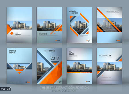 Abstract composition. Gray a4 brochure cover design. Info banner frame. Text font. Title sheet model set. Modern vector front page. Brand  texture. Orange color figures image icon. Ad flyer