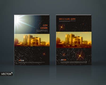 Abstract composition. Black a4 brochure cover design. Info banner frame. Text font. Title sheet model set. Modern vector front page. Brand  texture. Space star figures image icon. Ad flyer fiber