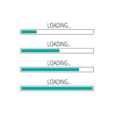 Abstract composition. Loading bar element icon set. Creative web design download timer. Users completion indicator. White background, green lines. Uploading speed symbol. Internet site page progress