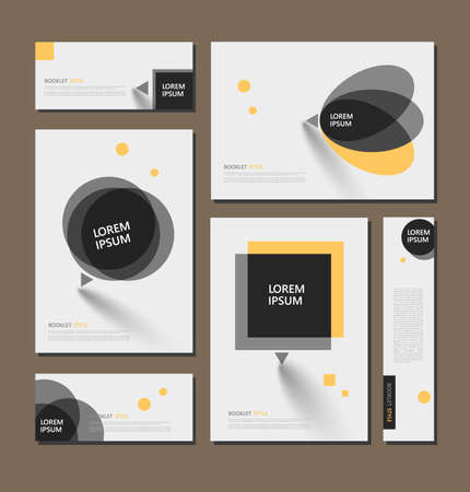Abstract flyer art. Yellow brochure cover design. Info banner frame. Elegant ad text font. Title sheet model set. Fancy vector front page. Square printed blurb. Yellow, black figures icon. Diary binder