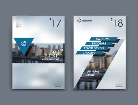 Abstract a4 brochure cover design. Templates for banner, business card, title sheet model set, flyer or ad text font. Modern vector front page art with urban city street texture. Triangle, lines