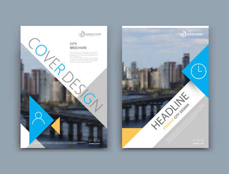 Abstract a4 brochure cover design. Template for banner, business card, title sheet model set, flyer, ad text font. Modern vector front page art with urban city river bridge. Blue, yellow triangle Vetores