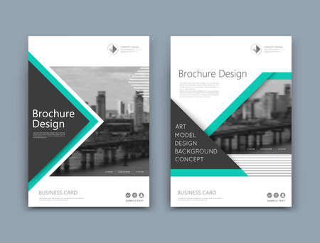 Abstract a4 brochure cover design. Template for banner text, ad business card, title sheet model set, info flyer font. Patch vector front page art with urban city river bridge. Green lines figure Vettoriali