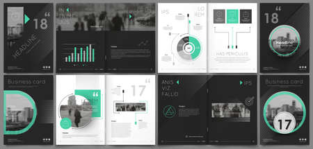 Abstract binder art. White a4 brochure cover design. Info banner frame. Elegant ad flyer text. Title sheet model set. Fancy vector front page. City font blurb. Green line, square, triangle figure