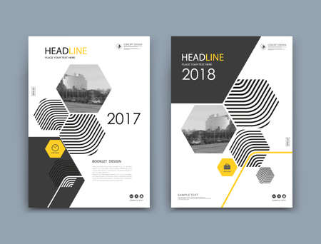 White, black info mockup. A4 brochure cover design. Fancy patch banner. Title sheet model set. Modern vector front page art. Urban city house board. Yellow colored frame, logo icon. Ad flyer text font