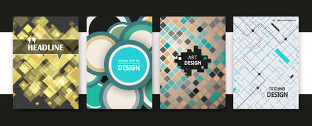 White, green, yellow a4 book binder mockup. Brochure cover design. Title sheet model set. Modern vector front page art. Info board. Square mosaic frame, lozenge inlay, circles icon. Ad flyer text font
