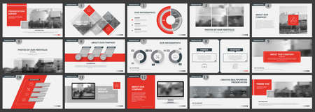 Abstract white, red presentation slides. Modern brochure cover design. Fancy info banner frame. Creative infographic elements set. Urban city font. Vector title sheet model. Ad flyer style template Vector Illustration