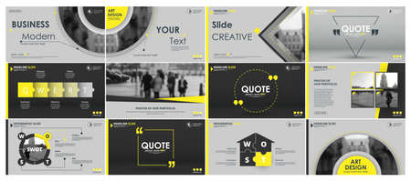 Abstract white, yellow, slides. Brochure cover design. Fancy info banner frame. Creative set of infographic elements. Urban Title sheet model set. Modern vector. Presentation templates, corporate.