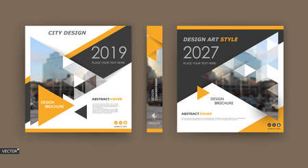 Abstract composition. White brochure cover design. Info banner frame. Text font. Title sheet model set. Modern vector front page. City view texture. Yellow triangle figures image icon. Ad flyer fiber