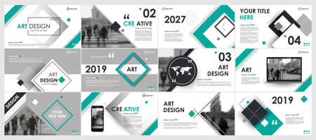 Abstract white, green, slides. Brochure cover design. Fancy info banner frame. Creative set of infographic elements. Urban. Title sheet model set. Modern vector. Presentation templates, corporate. Vectores