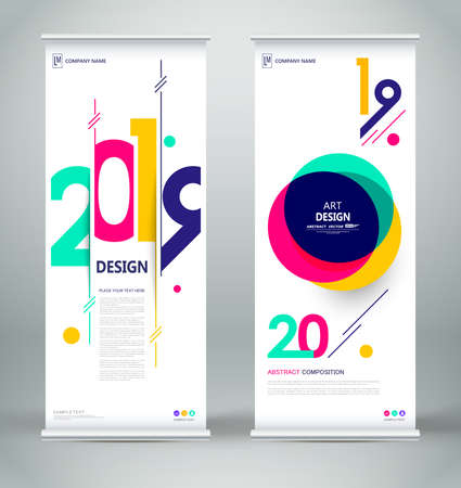 Abstract composition. White roll up brochure cover design. Info banner frame. Text font. Title sheet model set. Modern vector front page art. Circle parts brand flag. Round figure icon. Ad flyer 2019