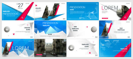 Abstract white, blue presentation slides. Modern brochure cover design. Fancy info banner frame. Creative infographic elements set. Urban city font. Vector title sheet model. Ad flyer style template Vectores