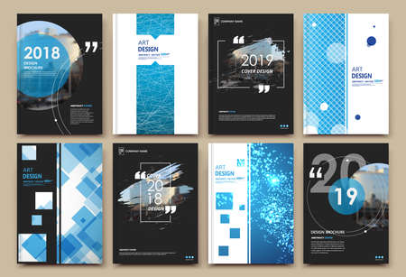 Abstract patch brochure cover design. Black info data banner frame. Techno title sheet model set. Modern vector front page art. Urban city blurb texture. Blue citation figure icon. Ad flyer text Vectores