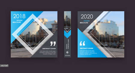 Abstract patch brochure cover design. Black info data banner frame. Techno title sheet model set. Modern vector front page art. Urban city blurb texture. Blue citation figure icon. Ad flyer text font