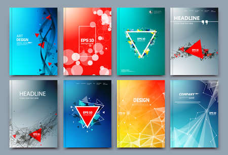 Abstract composition. Text frame surface. Green, yellow, blue, orange a4 brochure cover design. Title sheet model set. Polygonal space icon. Vector front page font. Ad banner form texture