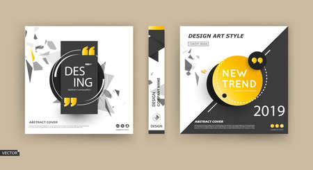 Abstract patch brochure cover design. Black info data banner frame. Techno title sheet model set. Modern vector front page art. Blurb texture. Yellow citation figure icon. Ad flyer text font. line.