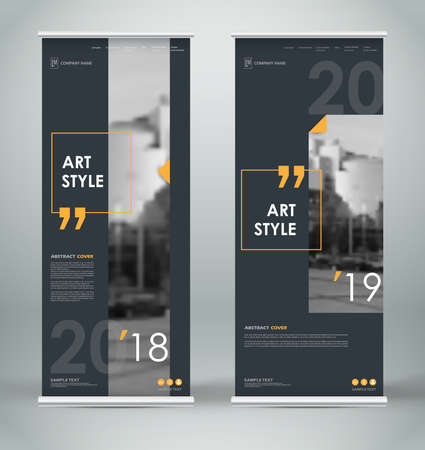 Abstract composition. Black roll up brochure cover design. Info banner frame. Text font. Title sheet model set. Modern vector front page. City view brand flag. Yellow citation figure icon. Ad flyer.