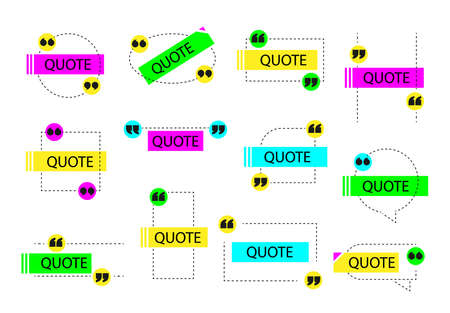 Abstract composition quotes for text. Yellow. Pink. Blue citation figure. Vectores