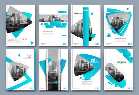 Abstract binder layout. White a4 brochure cover design. Fancy info text frame. Creative ad flyer font. Title sheet model set. Modern vector front page. Elegant city banner. Blue figures icon fiber