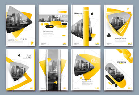 Abstract binder layout. White a4 brochure cover design. Fancy info text frame. Creative ad flyer font. Title sheet model set. Modern vector front page. Elegant city banner. Yellow figures icon fiber Vectores