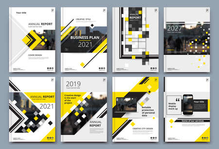 Abstract composition. White a4 brochure cover design. Info banner frame. Text font. Title sheet model set. Modern vector front page. Brand logo texture. Yellow color figures image icon. Ad flyer fiber