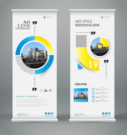 Abstract composition. White roll up brochure cover design. Info banner frame. Text font. Title sheet model set. Modern vector front page. City view brand flag. Circle figures icon. Ad flyer fiber Vectores