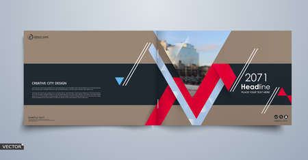 Abstract blurb theme. White brochure cover design. Info banner frame. Fancy ad flyer text font. Title sheet fiber model. Hi tech vector front page. Urban city view texture. Red triangle figure icon