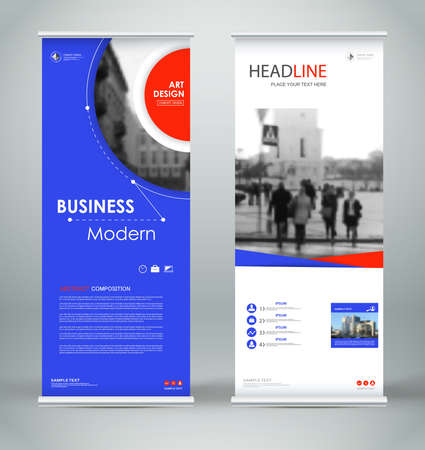 Abstract composition. Blue, red roll up brochure cover design. Info banner frame. Text font. Title sheet model set. Modern vector front page. City view brand flag. Circle figures icon. Ad flyer fibe