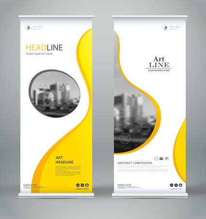Abstract composition. White roll up brochure cover design. Info banner frame. Text font. Title sheet model set. Modern vector front page. City view brand flag. Circle figures icon. Ad flyer fibe