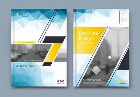 Abstract low poly. White brochure cover design. Info banner frame. Fancy ad flyer text font. Title sheet fiber model. Hi tech vector front page. Urban city view texture. Yellow triangle figure icon Vectores