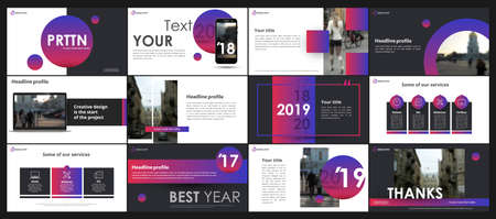 Abstract multicolor presentation slides. Modern brochure cover design. Fancy info banner frame. Creative infographic elements set. Urban city font. Vector title sheet model. Ad flyer style template