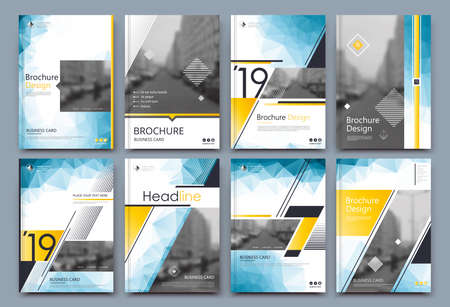 Low poly Brochure cover design. Annual report binder. Info banner frame. Fancy ad flyer text font. Title sheet fiber model. Hi tech vector front page. Urban city view texture. Yellow blue triangle. Vectores