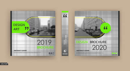 Abstract patch brochure cover design. Black info data banner frame. Techno title sheet model set. Modern vector front page art. Urban city blurb texture. Green citation figure icon. Ad flyer text. Vectores