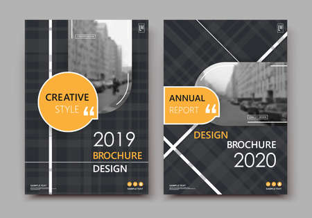 Abstract patch brochure cover design. Black info data banner frame. Techno title sheet model set. Modern vector front page art. Urban city blurb texture. Yellow citation figure icon. Ad flyer text.