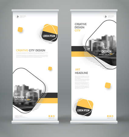 Abstract composition. White roll up brochure cover design. Info banner frame. Text font. Title sheet model set. Modern vector front page. City view brand flag. Rhombus figures icon. Ad flyer fiber.