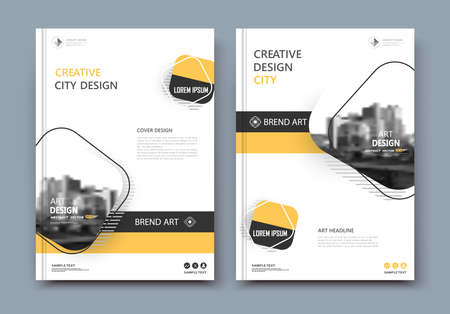 Abstract a4 brochure cover design. Text frame surface. Urban city view font. Title sheet model. Creative vector front page.