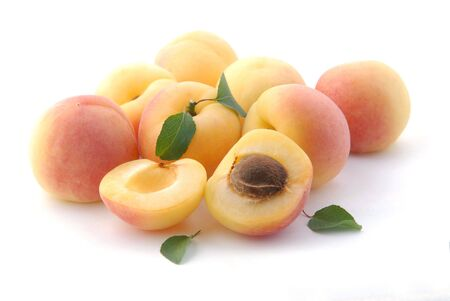 Apricots; objects on white background Stock Photo