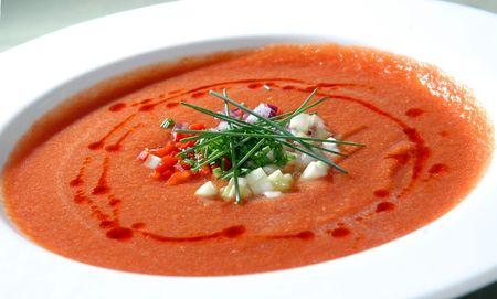 The Spanish cold tomato soup gaspacho photo