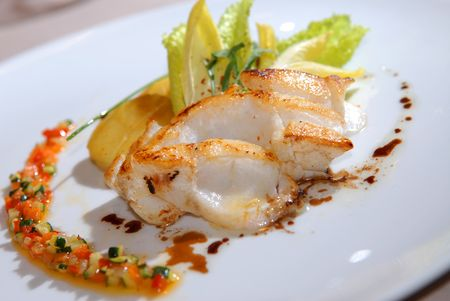 potato cod: Fried cod with a potato and vegetables