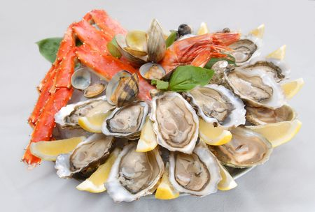 kamchatka: seafood with claws of the Kamchatka crab, oysters Stock Photo