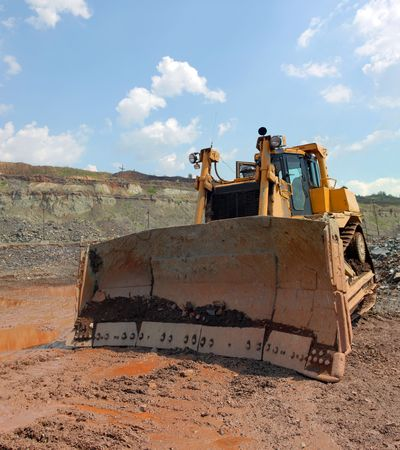 The bulldozer after work in career Stock Photo - 5308473