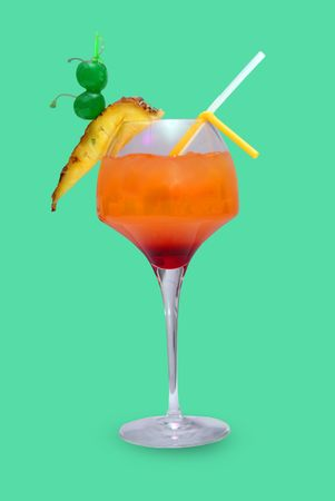 Cocktail with pineapple and cherries Stock Photo - 5308477