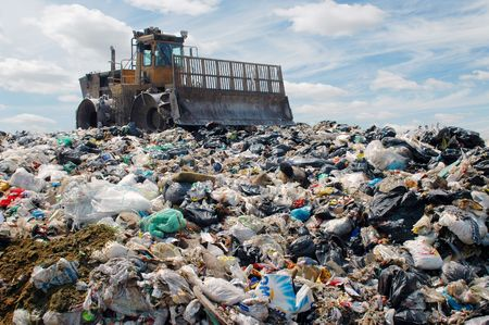 garbage dump: The bulldozer buries food and industrial wastes