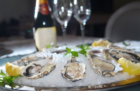 aphrodisiac: Oysters in ice with a lemon and wine