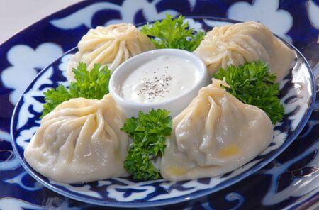 uzbek: Uzbek manty with meat of a lamb