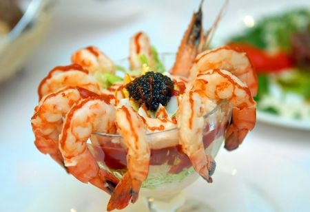cleared: The cleared shrimps with black caviar