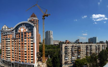 industrially: Panorama of building of a new building in Kiev